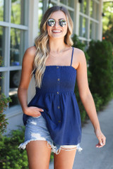 Navy - Close Up of the Smocked Button Cami Top. Cute Babydoll fit