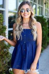 Navy - Smocked Button Cami Top perfect for layering