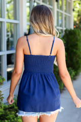 Smocked Button Cami Top in Navy Back View