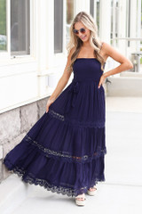 Navy - Model wearing the Smocked Tiered Maxi Dress Close Up