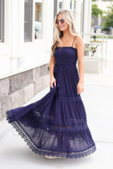 Model wearing the Smocked Tiered Maxi Dress Close Up