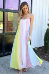 Yellow - Multi-Colored Striped Maxi Dress from Dress Up