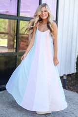 shop dresses like the Model wearing the Multi-Colored Striped Maxi Dress in Mint with straw sun hats and trendy shoes