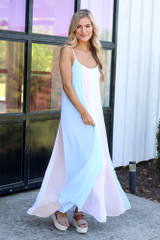 Mint - Multi-Colored Striped Maxi Dress from online dress boutique