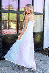 Model wearing the Multi-Colored Striped Maxi Dress in Mint from online dress boutique with cute dresses