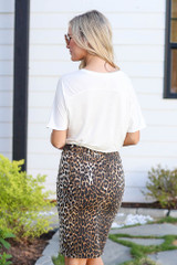 Model wearing the Leopard Zipper Front Denim Pencil Skirt  with black bodysuit Back View