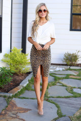 Model wearing the Leopard Zipper Front Denim Pencil Skirt  with black bodysuit Full Outfit View