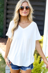 White - oversized jersey knit tee