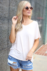 Light Pink - Model wearing the Jersey Knit V-Neck Basic Tee