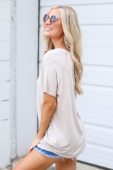 Jersey Knit V-Neck Basic Tee in Taupe Side View