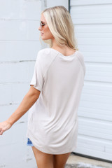 Jersey Knit V-Neck Basic Tee in Taupe Back View