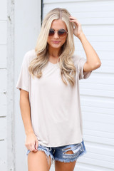 Jersey Knit V-Neck Basic Tee in Taupe Front View