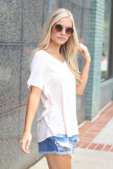 Jersey Knit V-Neck Basic Tee in Light Pink Side View