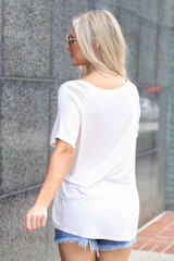 Jersey Knit V-Neck Basic Tee in Light Pink Back View
