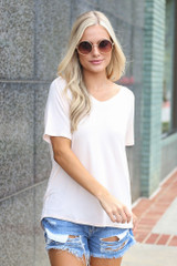 Jersey Knit V-Neck Basic Tee in Light Pink Front View
