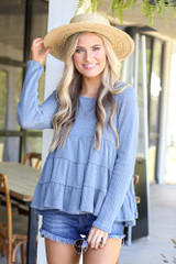 Denim - Knit Tiered Babydoll Top from Dress Up
