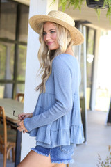 Knit Tiered Babydoll Top Side View