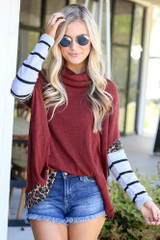 Rust - Cowl Neck Statement Sleeve Pullover