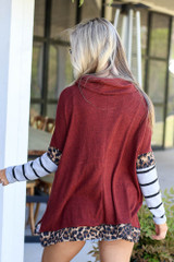 Cowl Neck Statement Sleeve Pullover Back View