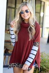 Rust - Cowl Neck Statement Sleeve Pullover from Dress Up