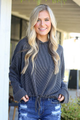Black - ribbed knit hoodie from dress up
