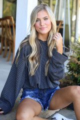 Dress Up model wearing the Ribbed Knit Hoodie in Black
