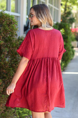 Textured Babydoll Dress Back View