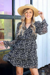 Black - Floral Tiered Dress from Dress Up