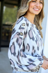 Close Up of the Side of the Button Shoulder Leopard Top