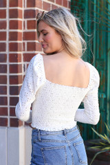Smocked Eyelet Crop Top in White Back View