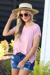 Model wearing the Crew Neck Basic Tee in Blush
