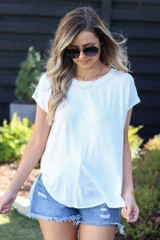 Model wearing the Crew Neck Basic Tee in White