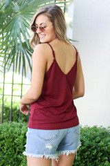 Textured Lace Tank in Burgundy Back View