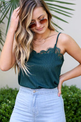 Green - Model wearing the Textured Lace Tank