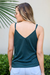 Textured Lace Tank in Green Back View
