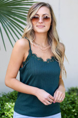 Green - Close Up of the Textured Lace Tank