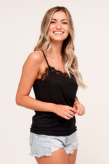 Textured Lace Tank in Black Side View