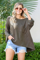 Olive - Model from Dress Up wearing the Jersey Knit Bell Sleeve Top in Olive Front View