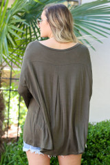 Model from Dress Up wearing the Jersey Knit Bell Sleeve Top in Olive Back View