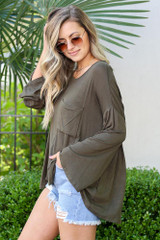 Jersey Knit Bell Sleeve Top from Dress Up in Olive Side View