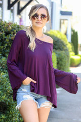 Purple - Model from Dress Up wearing the Jersey Knit Bell Sleeve Top in Purple Front View
