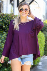 Purple - Jersey Knit Bell Sleeve Top from Dress Up