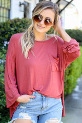 Rust - Jersey Knit Bell Sleeve Top from Dress Up
