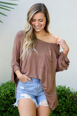 Mocha - Jersey Knit Bell Sleeve Top from Dress Up