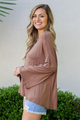Model from Dress Up wearing the Jersey Knit Bell Sleeve Top in Mocha Side View
