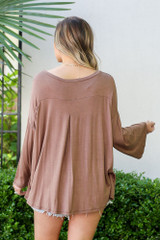 Model from Dress Up wearing the Jersey Knit Bell Sleeve Top in Mocha Back View