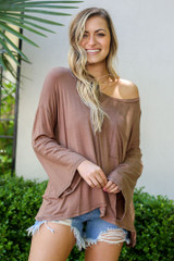 Model from Dress Up wearing the Jersey Knit Bell Sleeve Top in Mocha Front View