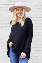 Black - Jersey Knit Bell Sleeve Top from Dress Up