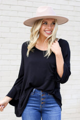 Model from Dress Up wearing the Jersey Knit Bell Sleeve Top in Black Front View