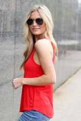 Model wearing the Jersey Knit Cami Tank in Red Side View
